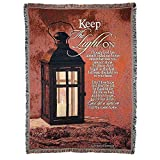 Keep the Light on Lantern on Red 52 x 68 All Cotton Tapestry Throw Blanket