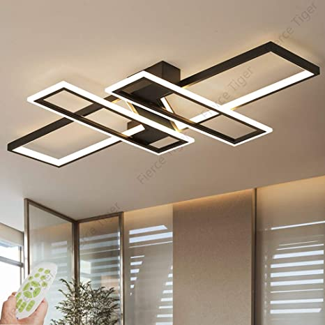 Led Ceiling Light Dimmable Modern Flush Mounted Living Room Light Chandelier 94w Aluminum Acrylic Creative Chic Design Ceiling Lamp Fixture Lighting Bedroom Lights Office Ceiling Light Lamp Black Amazon Com