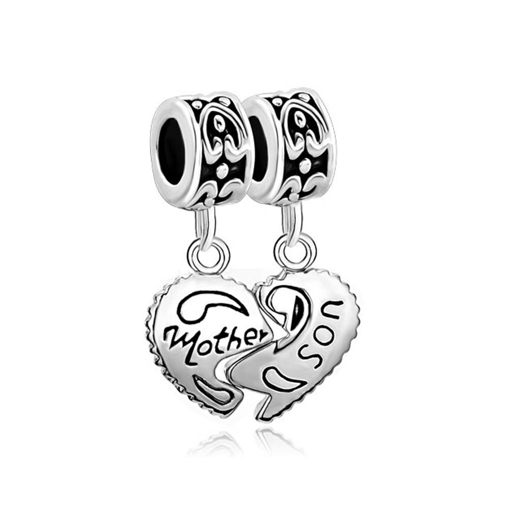 LovelyJewelry Heart Love Mom Son Family Charms Beads for Bracelets