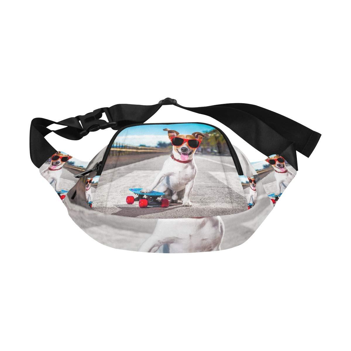 Funny Dog Standing On A Skateboard Fenny Packs Waist Bags Adjustable Belt Waterproof Nylon Travel Running Sport Vacation Party For Men Women Boys Girls Kids