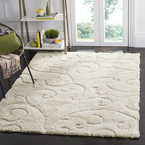 Safavieh Florida Shag Collection SG455-1111 Scrolling Vine Cream Graceful Swirl Area Rug (11' x 15') by Safavieh
