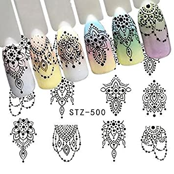 Amazon Com Black Henna Lace Lingerie Jewelery Nail Decals Modern
