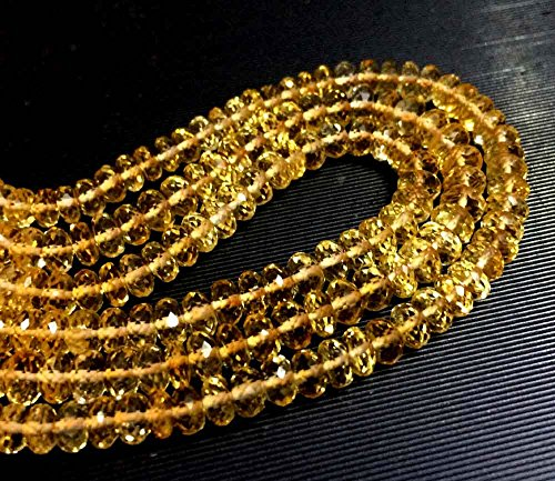 AAA++QUALITY CITRINE FACETED RONDELLE LOOSE GEMSTONE BEADS 13.5