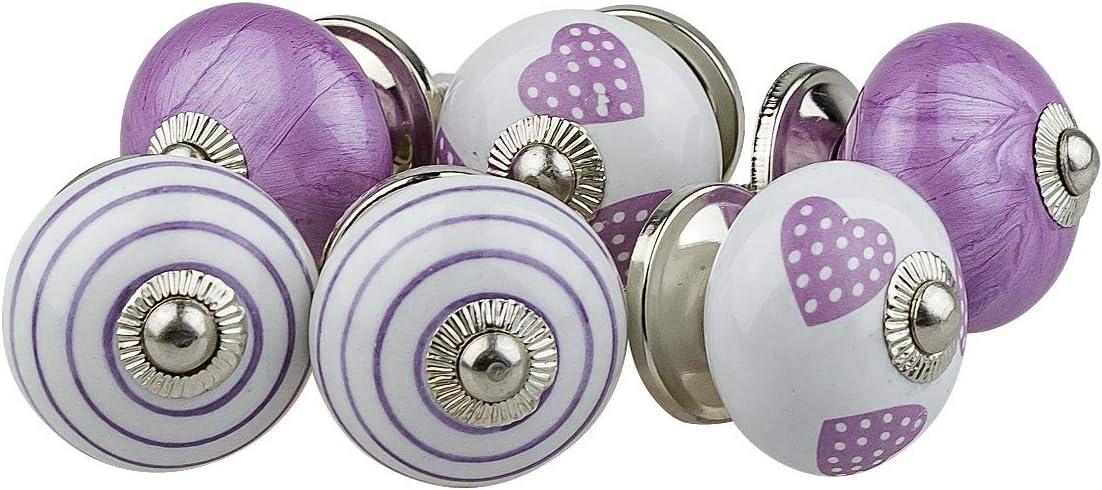 dipinti a mano stile shabby chic Jay Knopf AV3-1 set di 6 pomelli per mobili in ceramica