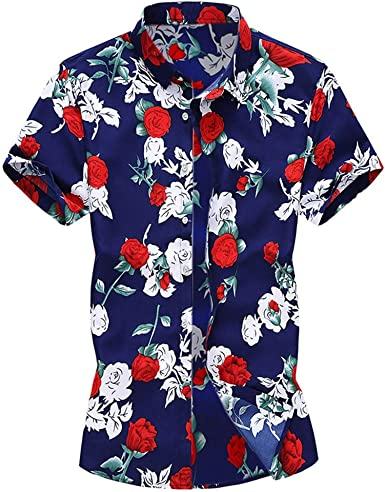 Casual Summer Printed Daily Top Beach Vacation Blouse Button Short Sleeve T-Shirt Men Hawaiian Shirt