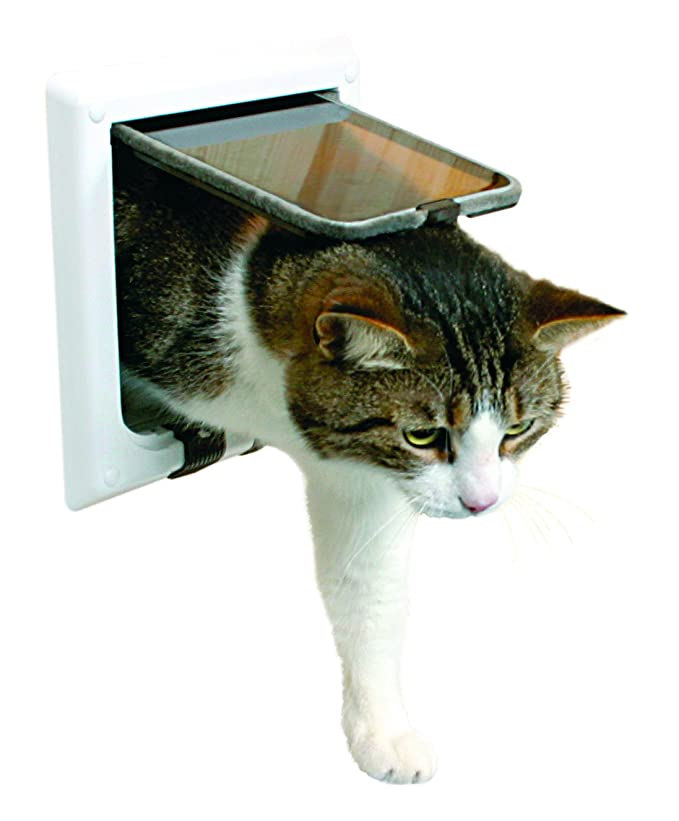 Amazon.com: Trixie Pet Products 4-Way Locking Cat Door with Tunnel, White: Pet Supplies