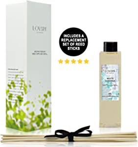 LOVSPA White Gardenia Reed Diffuser Oil Refill with Replacement Reed Sticks | Vetiver, Arugula, Lavender, Musk, Sweet Basil & French Grapefruit. 4 oz| Made in The USA