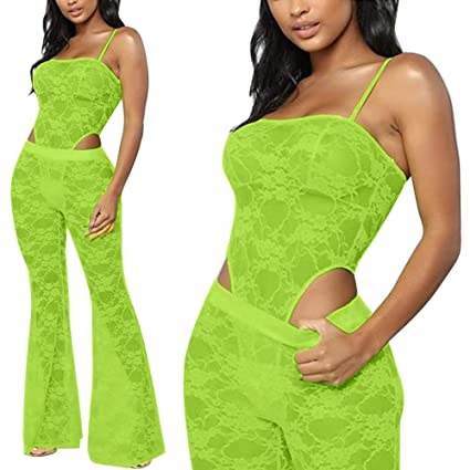 Kumono Womens Sexy Lace Mesh See Through Bodycon 2 Pieces Outfits Jumpsuits Sexy Embroidered Spaghetti Strap Long Pants Set by Kumono
