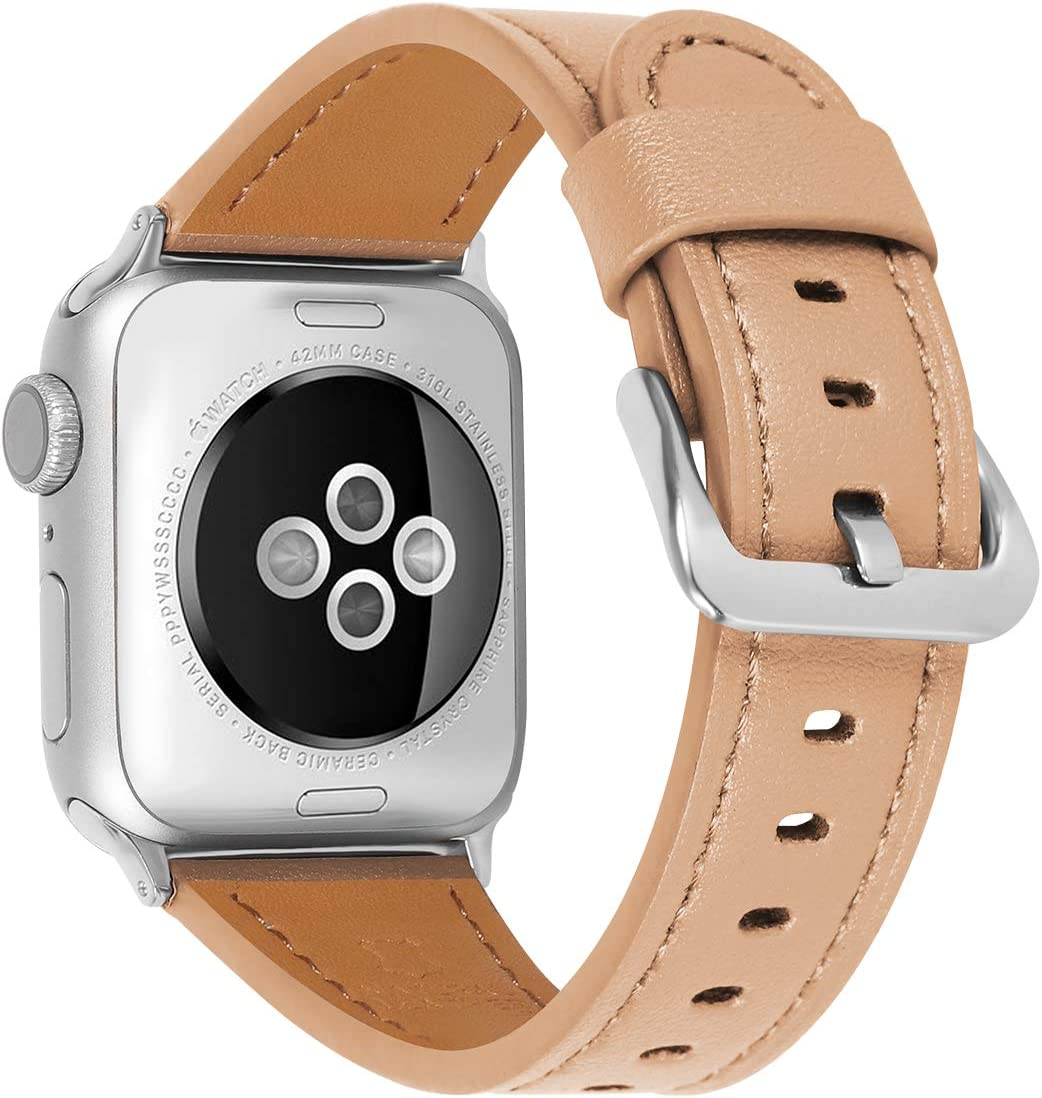 JIKE Compatible with Apple Watch Band 38mm 40mm, 42mm44mm Genuine Leather Watch Strap Compatible with Apple Watch Series 6/5/ 4/ 3 /2/ 1,SE Sport and Edition (Brown /Silver , 42mm44mm)