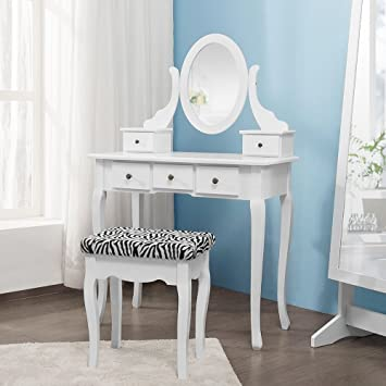 White Dressing Table Mirror Stool Set 5 Drawers Bedroom Desk With