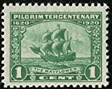 Postage Stamps United States. One Single 1 Cent Green Mayflower Pilgrim Tercentenary Issue Stamp Dated 1920, Scott #548.
