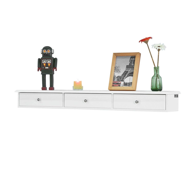 SoBuy® FRG43-L-W, Wall Shelf Floating Shelf Wall Drawers, Wall Storage Display Unit with 3 Drawers