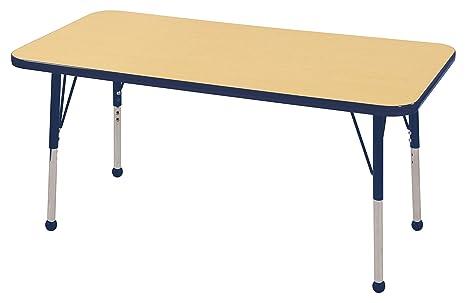 Adjustable Height 19-30 inch ECR4Kids Mesa Everyday  24 x 48 Trapezoid School Activity Table Maple//Navy Standard Legs w// Swivel Glides
