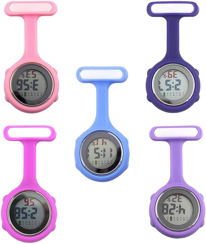 WANGMIN Krankenschwester Taschen-Uhr-Frauen-Runde Digital Display Dial Clip Fob WeisebroschePin Hang Elektro-Silikon-Uhr New Fob Uhren 1Pc (Color : Red) Blue