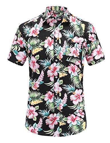Mens Shirt Hibiscus Aloha - JEETOO Mens Casual Flower Print Hibiscus Short Sleeve Hawaiian Aloha Shirt(Blackflower,L)