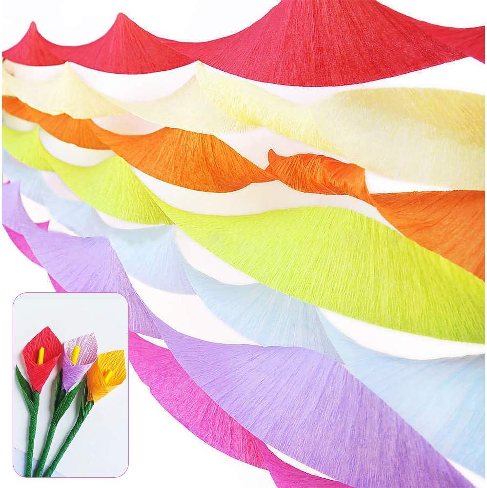 feste 24 rotoli di carta crespa decorazioni da appendere 12 colori matrimoni nastro arcobaleno con 1 rotolo di nastro biadesivo per feste di compleanno Homo Trends