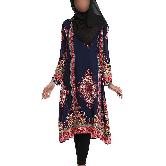 Xinvision musulmán árabe Manga larga Iglesia Oración Vestido Medio Oriente Turquía Étnico Robe Judío hindú Kaftan Impresión Apparel Abaya Mujer Vestir para ...