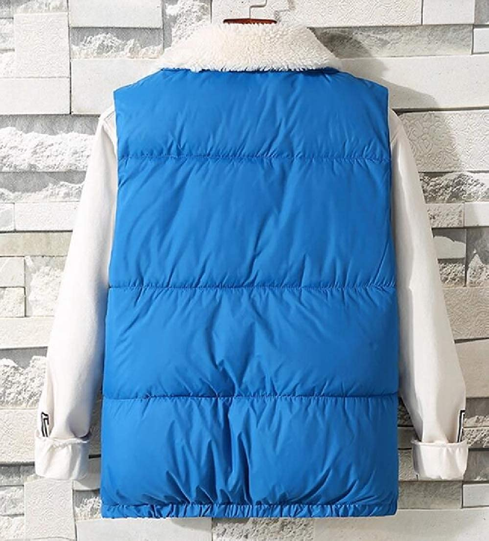 GRMO Men Sleeveless Button Down Quilted Casual Stand Collar Down Vest Jacket