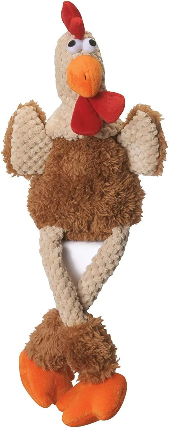 goDog Checkers Skinny Rooster With Chew Guard Technology Tough Plush Dog Toy,Brown, Large