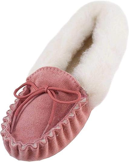 Kids Girls Boys Natural Leather Sheepskin Slippers Moccasins Youth Size UK10-2