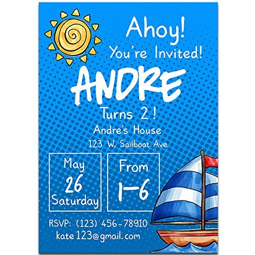 amazon com sailing boat birthday party invitations handmade