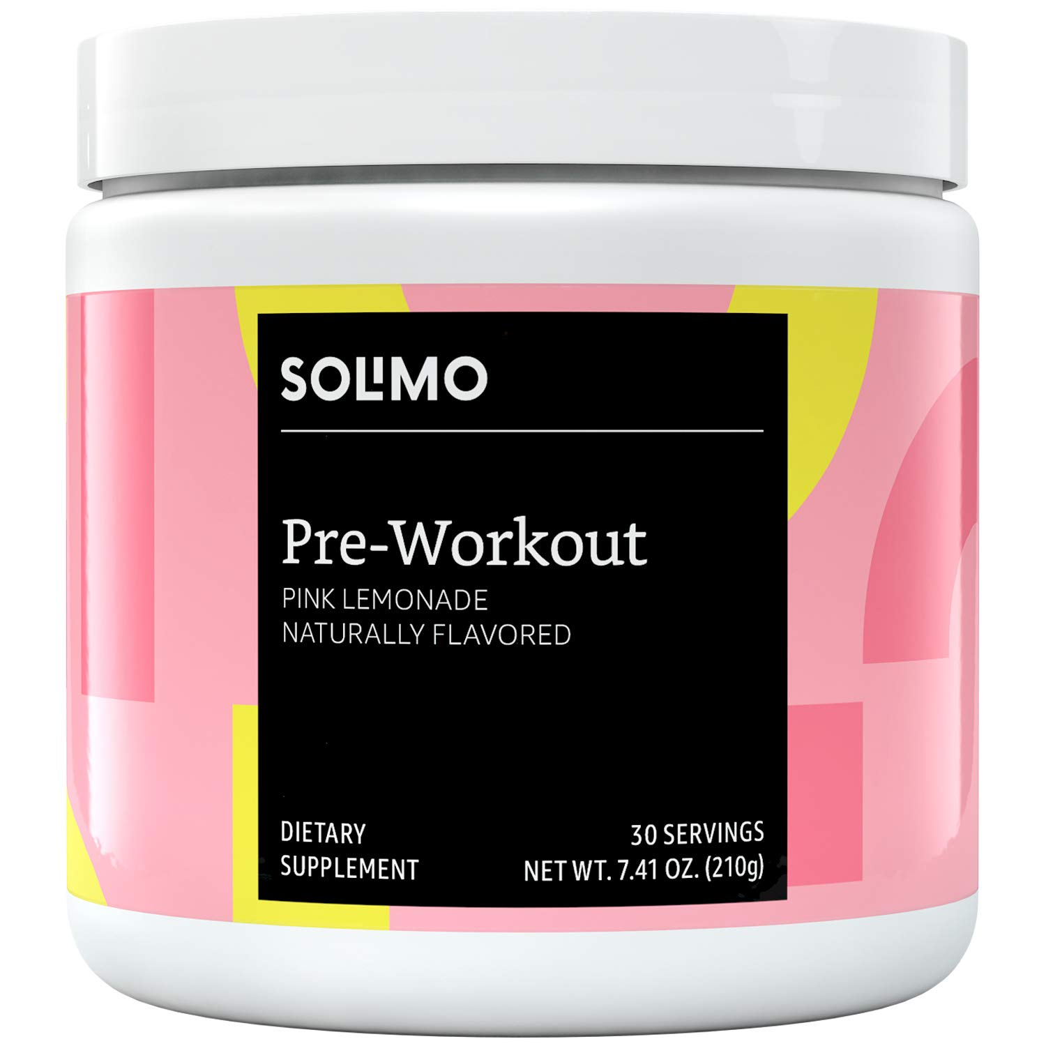 Amazon Brand - Solimo Pre Workout Powder, Pink Lemonade, 7.41 Ounce (30 Servings