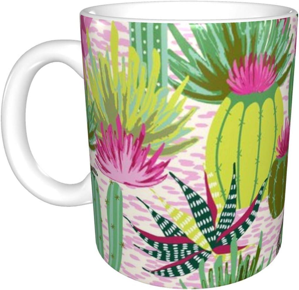 Taza de cerámica moderna verde del desierto y fucsia, taza de café taza de té taza de cerveza para la oficina y la capacidad del hogar