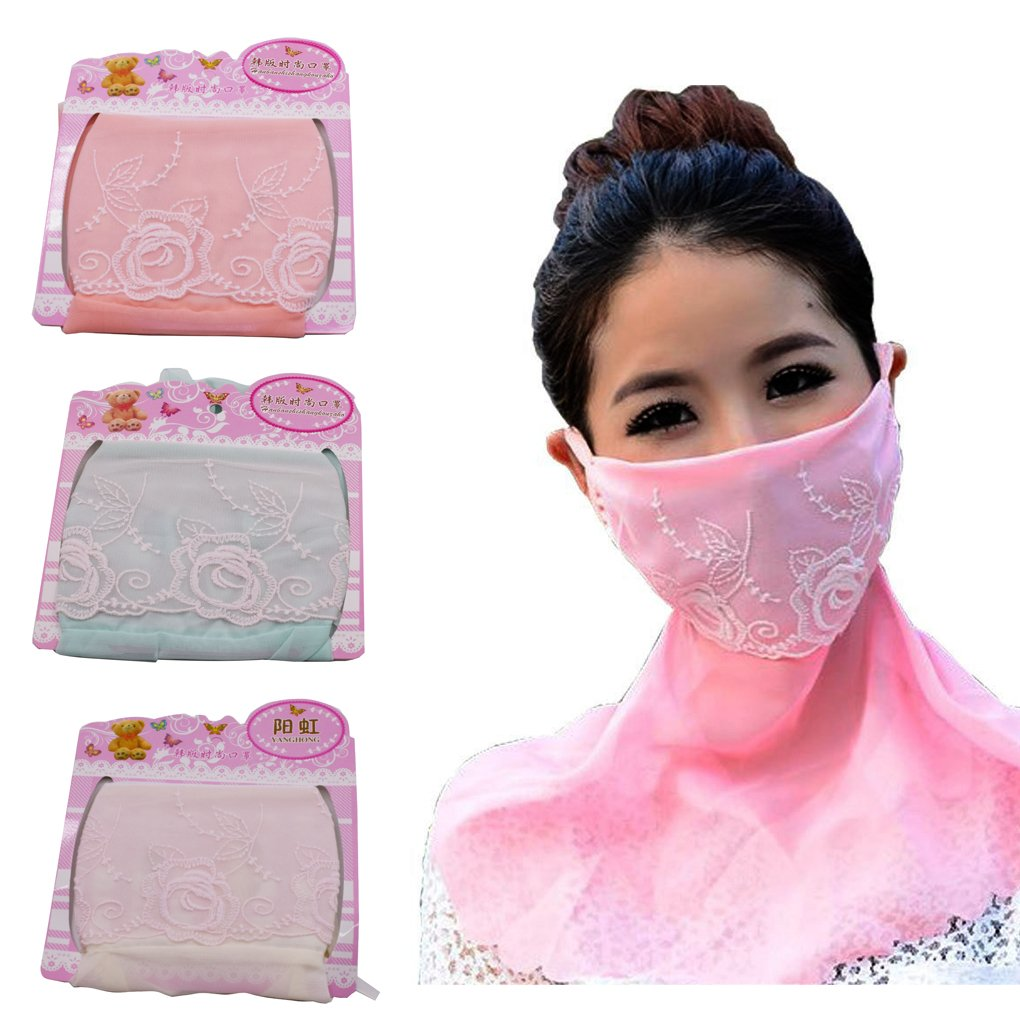 3 PCS Breathable Lace Mask Skin Care Chiffon Sunscreen Mask Foldable Neck Oversized Anti UV Masks for Outdoor Riding Fishing by Paciffico