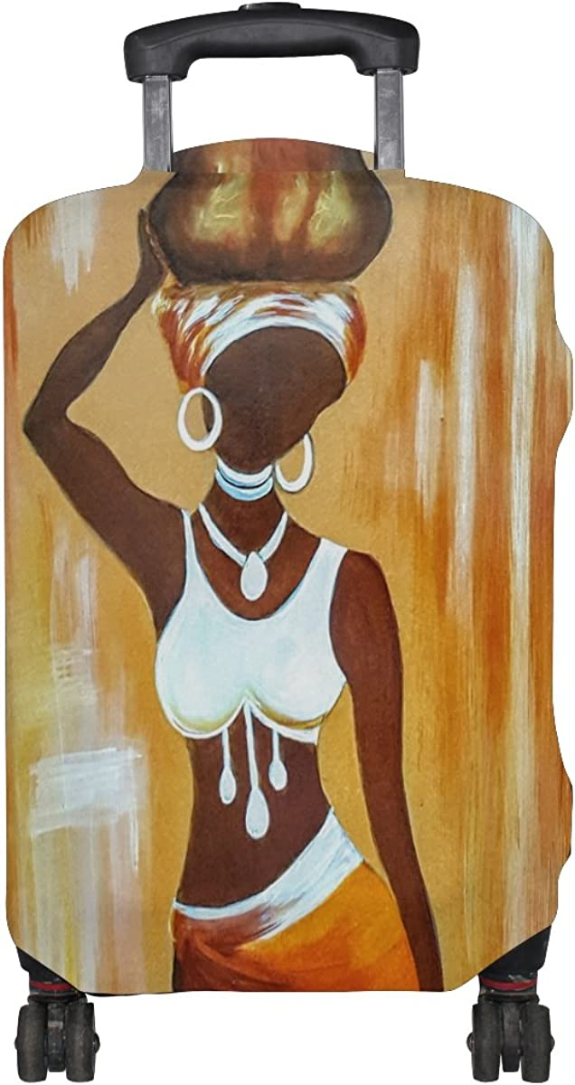 Jennifer Orange African Woman Painting Travel Luggage Covers Suitcase Protector Fits 18-20 in
