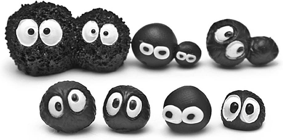 Kimkoala Fairy Garden Decoration Crafts, 8Pcs Mini Cute Resin Soot Figures Black Briquettes Figurines for Fairy Garden Decoration Supplies Miniature Micro Gnome Terrarium Ornament