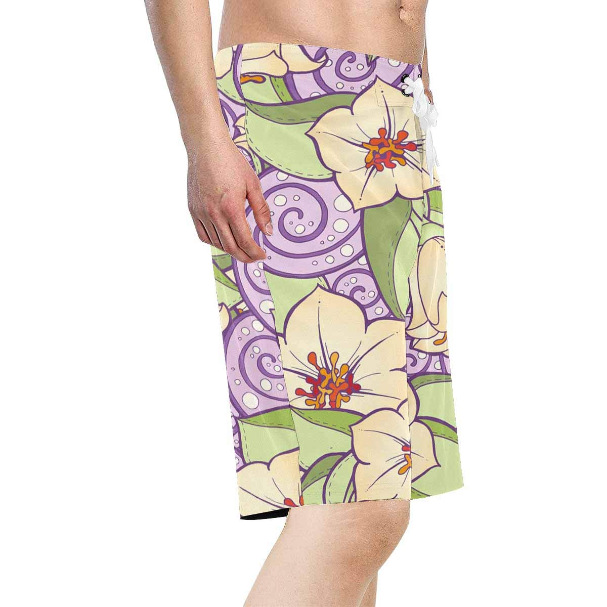 XS-6XL INTERESTPRINT Mens Beach Shorts Drawstring Stylized Flowers Purple Quick Dry Swim Trunks