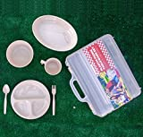 Wealers-Plastic-Reusable-Dishes-Set-Outdoor-Dinner-Tableware-Set-24-Piece-Plates-Cups-Bowls-Spoons-Forks-Great-for-Picnic-Camping-Fishing-or-Any-Event
