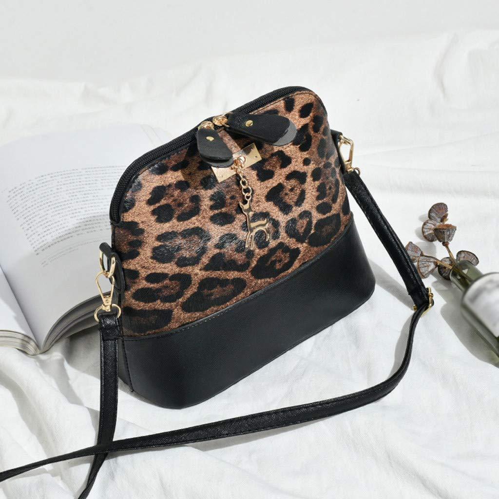 Women Crossbody Bags,Womens Leopard Print Shell Bag Simple Shoulder Bags Fashion Messenger Bag Totes Satchel Zipper