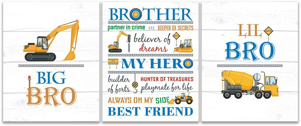 "Transportation Brothers Quote Wall Art, Colorful Inspirational Art Print, Construction Trucks Canvas Poster Set Of 3(8""X10"", Unframed), Cartoon Vehicles Sign For Boy's Playroom, Bedroom Decor"