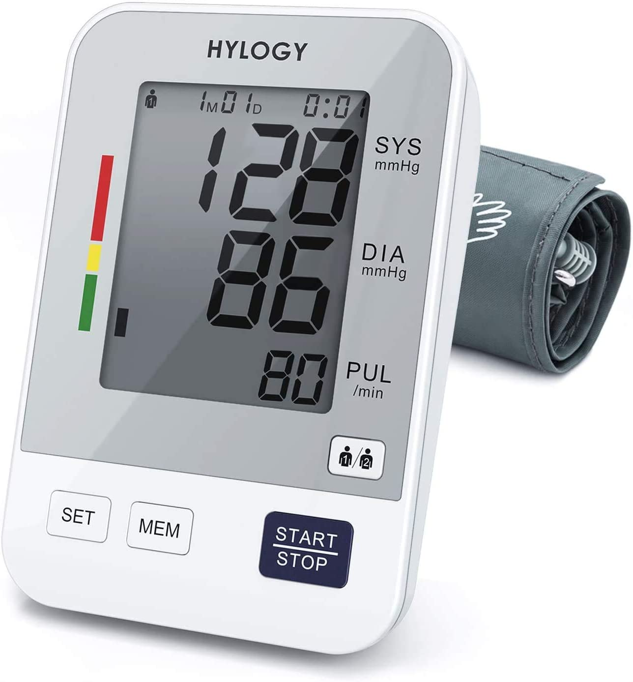 Blood Pressure Monitor Upper Arm, HYLOGY Digital Blood Pressure Machine Automatic with Large Screen Display and 2 Users Modes,180 Memories Storage