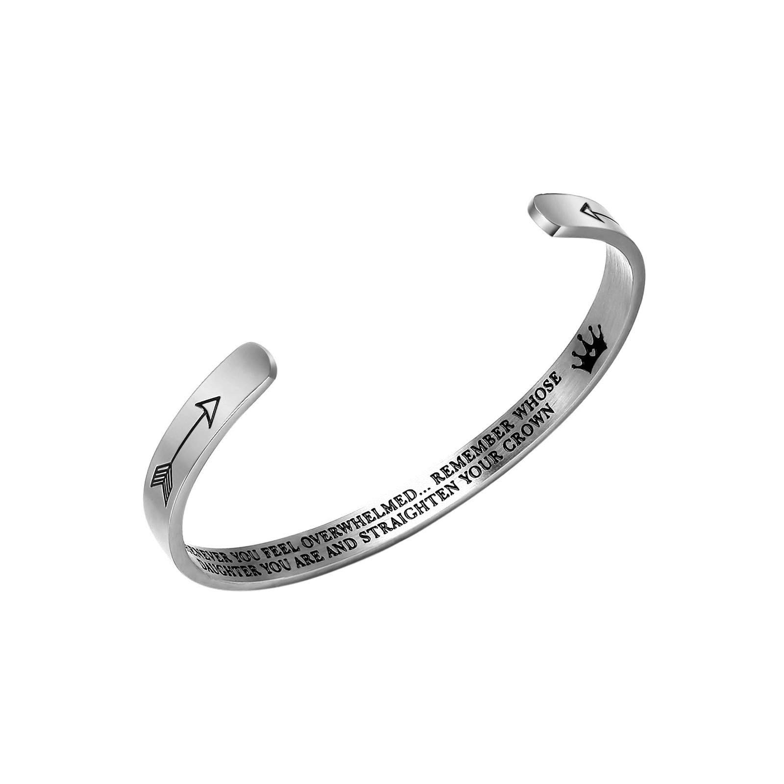 Stainless Steel Jewelry Inspirational Bracelets for Women Girls Personalized Gift Engraved Cuff Bangle for Mom Daughter Teen Girls Gift (Daughter Bracelet) by Stainless Steel