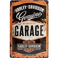 Nostalgic-Art Harley Davidson Garage Placa Decorativa, Metal, Naranja
