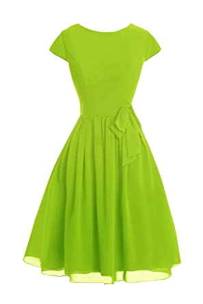 Brigth Green Knee Length Cocktail Dresses with Sleeves