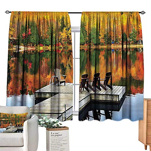 Mannwarehouse Thermal Curtains Landscape Chairs on Wooden Dock W55 xL63 Suitable for Bedroom,Living,Room,Study,etc.