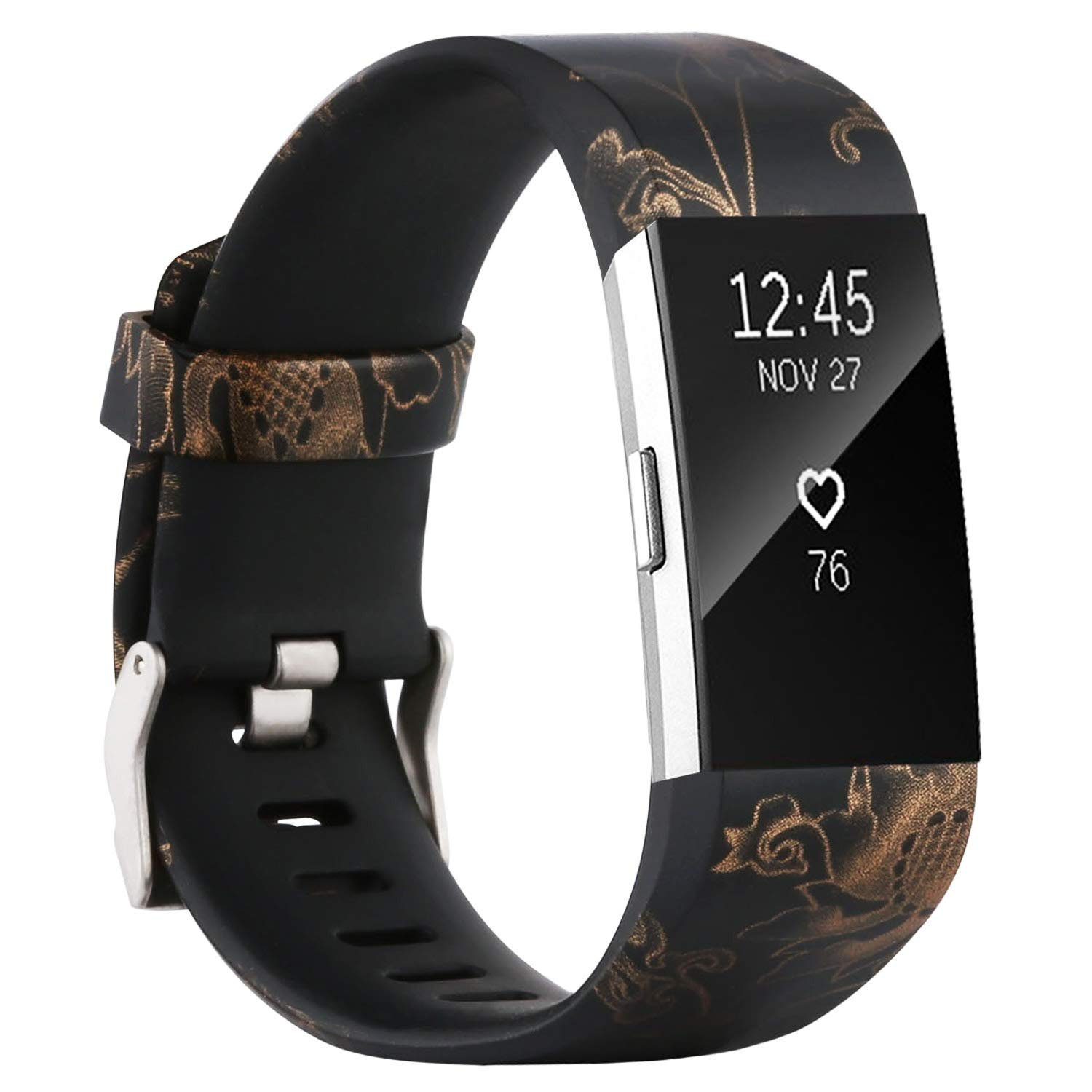 honecumi Replacement Bands Compatible with Charge 2 Wristbands Rose Gold Watch Bands/Strap for Men Women Colorful Pattern Bands with Metal Clasp Large Small Bands