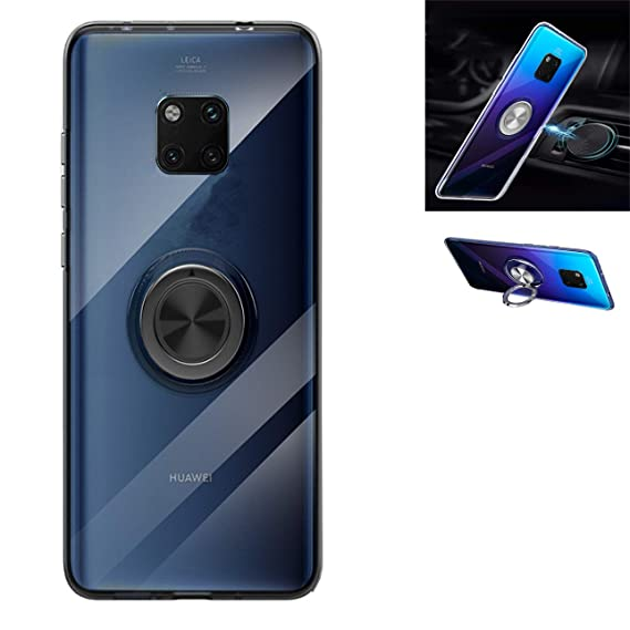 Blue/Black for Huawei Mate 20 Case Magnetic Car Mount Huawei Mate 20 Case,360° Rotating Ring Kickstand Protective Case,Silicone Soft TPU Shockproof Protection Thin Cover Compatible with