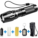BYBLIGHT LED Torch Flashlight, Super Bright 800 Lumens Rechargeable Torch, Adjustable Focus CREE Tactical Flashlight with 5 Modes and 26650 Battery, Waterproof Torch for Camping, Dog Walking, Outdoor Activitie
