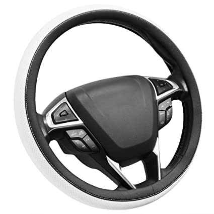 """SEG Direct Black and Gray Microfiber Leather Steering Wheel Cover For F-150 16/"""""""