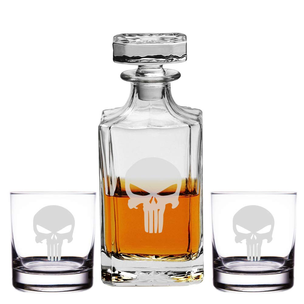 Abby Smith Engraved Punisher Skull - 26oz Decanter with Rocks Glasses (Set of 3)