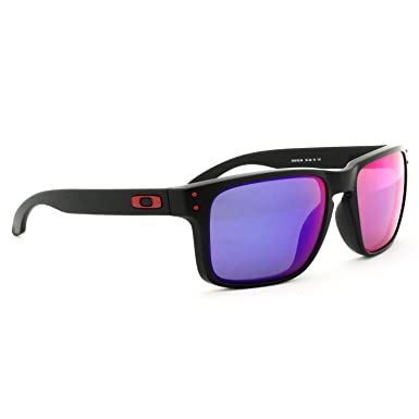 c0de88d5b0 Oakley Holbrook Matte Black w Red Iridium OO9102-36 +Free SD Glasses+Cleaning  Kit  Amazon.co.uk  Clothing