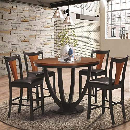 Coaster Home Furnishings Boyer 5-Piece Counter Table Dining Set Black and Amber