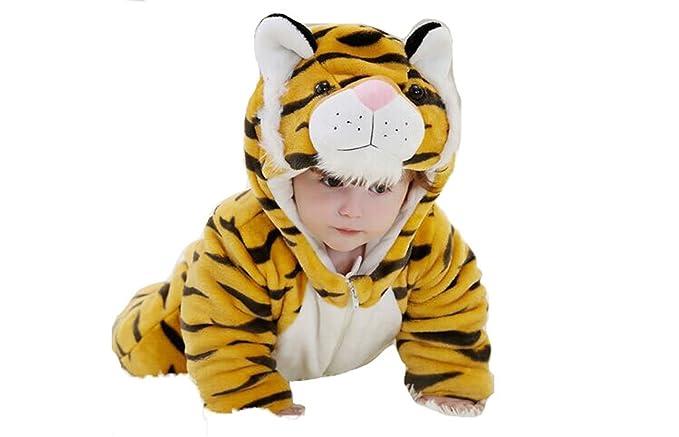 8ce81696a5254 OHmais Bébé Fille garçon Unisexe Grenouillère Costume Deguisement  Combinaison Pyjamas Hiver Tigre