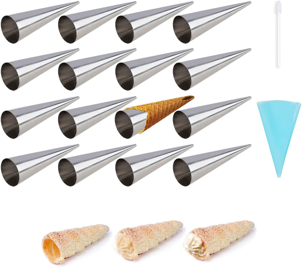 20 Pack Cream Horn Molds,Tissir 3 Inch Baking Cones Cream Horn Forms Free Standing Cone Shape Stainless Steel Lady Lock Cannoli Tubes Ice Cream Mold