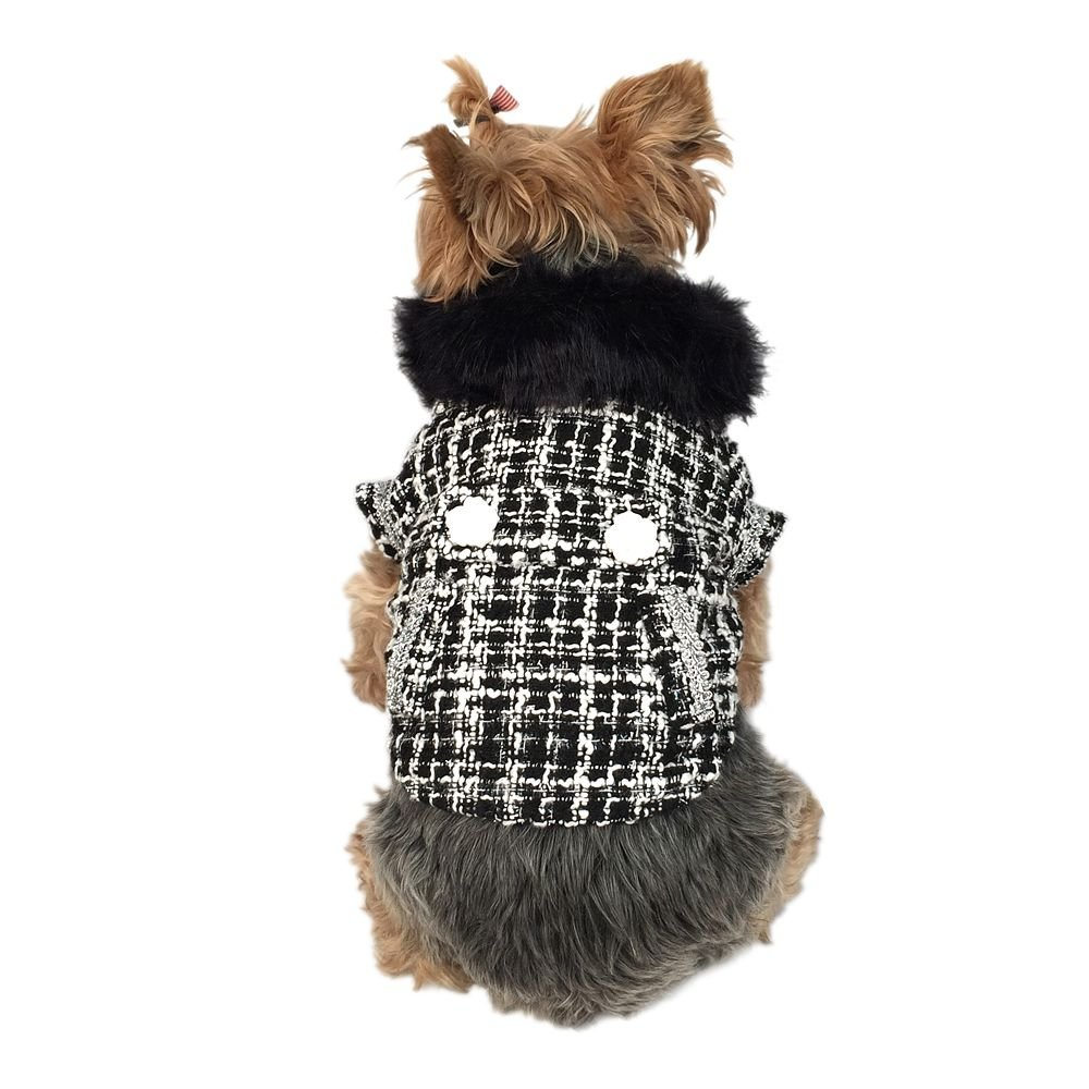 Anima Black and White Faux Fur Collared Fashion Trench Coat for Dogs, Medium