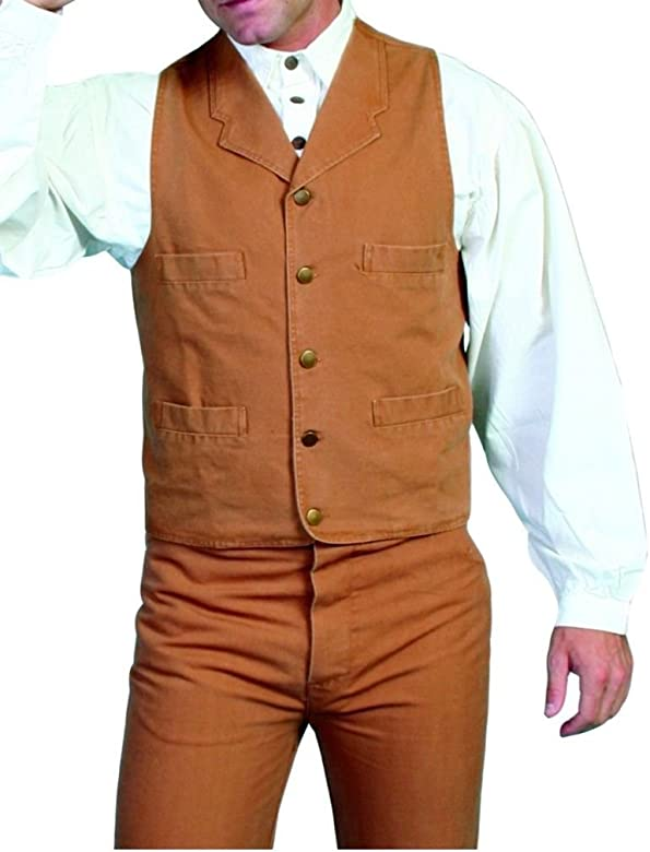 9ac2f502 Scully Old West Vest Mens Lined Button Cotton Canvas 3X5 Brown RW041